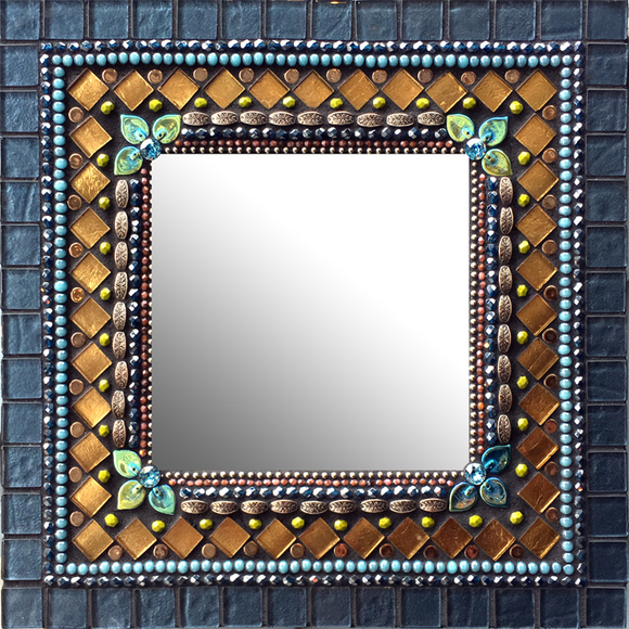 Zetamari Mosaic Square or Rectangular Mirror in French Denim Artistic Artisan Designer Mirrors