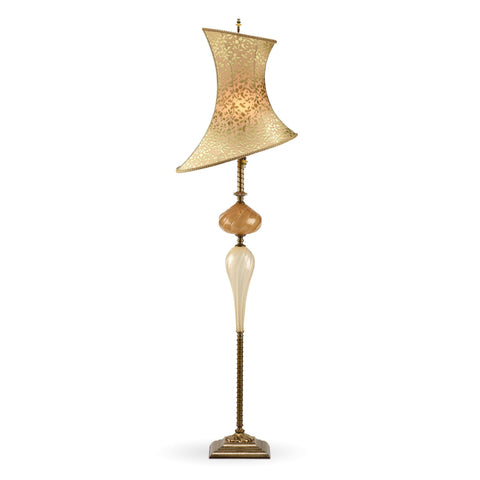 Kinzig Design Alessandro Floor Lamp Cream, Caramel, Soft Green, Blown Glass, Silk Shade, Artistic Artisan Designer Floor Lamps