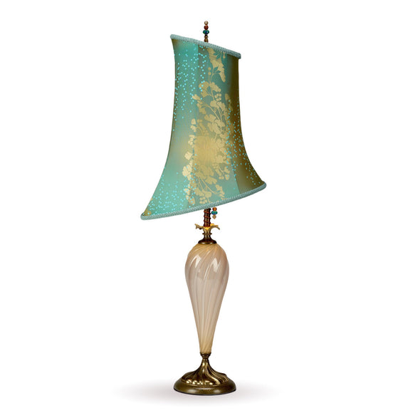 Alexandra Table Lamp, Kinzig Design, Teal, Cream, Gold Leaf, Blown Glass, Silk Shade, Artistic Artisan Designer Table Lamps