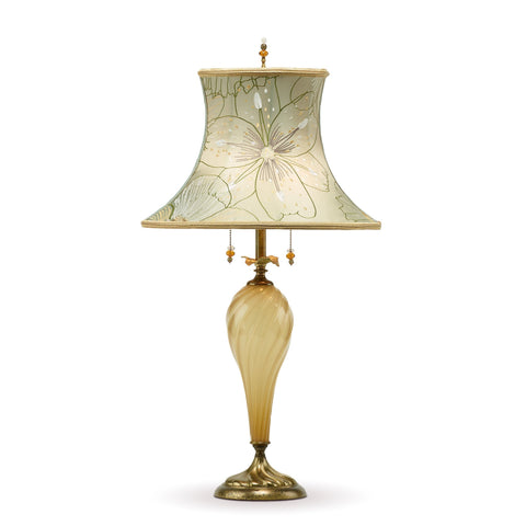 Ali Table Lamp, Kinzig Design, Gray, Green, Yellow, Blown Glass, Silk Shade, Artistic Artisan Designer Table Lamps