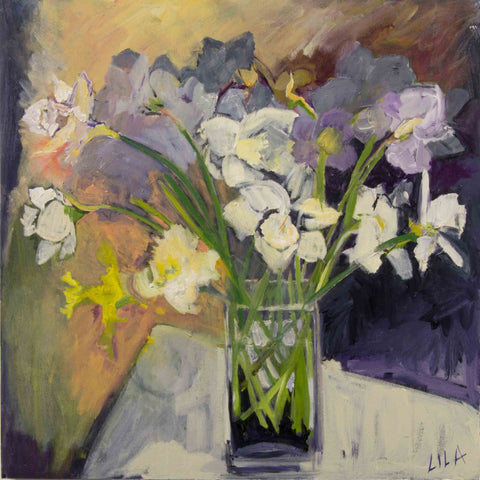 Lila Bacon Floral Painting on Canvas Daffodils 2015 c-lb171