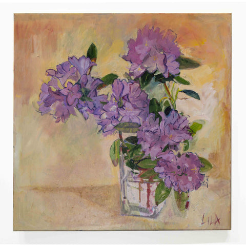 Lila Bacon Floral Painting on Canvas Rhoadies c-lb182