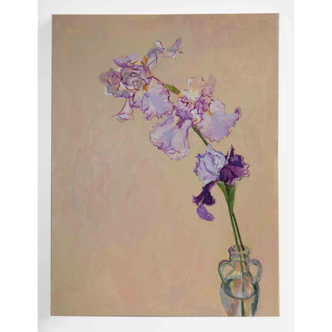 Lila Bacon Floral Painting on Canvas Spring Iris c-lb183