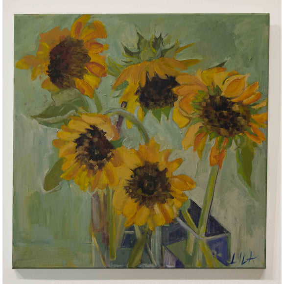 Lila Bacon Floral Painting on Canvas Sunflower Madness c-lb187