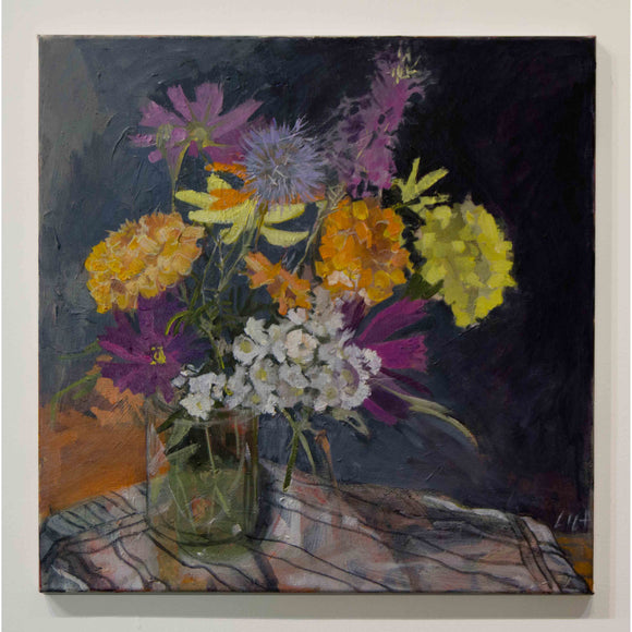 Lila Bacon Floral Painting on Canvas Marigolds, Etc c-lb192