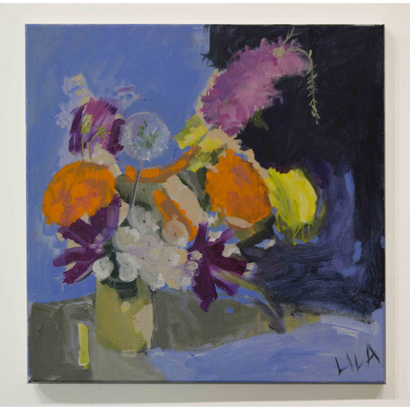 Lila Bacon Floral Painting on Canvas Marigolds, Etc #2 c-lb192a