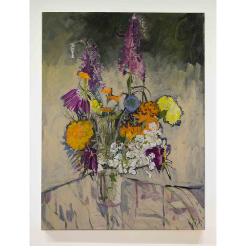 Lila Bacon Floral Painting on Canvas Late Summer c-lb193