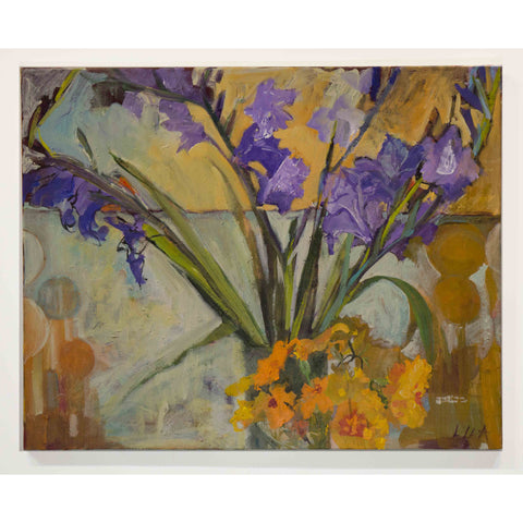 Lila Bacon Floral Painting on Canvas Gladiola c-lb195