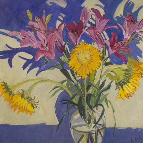 Lilies and Sunflowers by Lila Bacon c-lb199