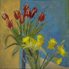 Lila Bacon Floral Painting on Canvas Tulips and Turquoise c-lb203