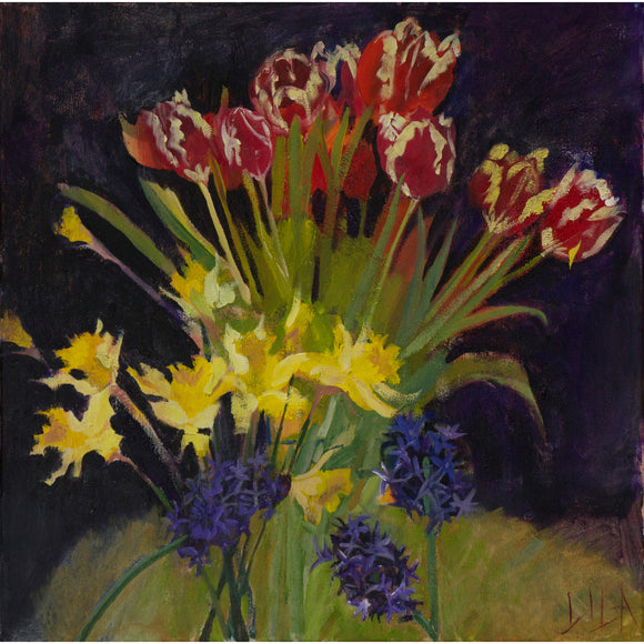 Lila Bacon Floral Painting on Canvas Hyacinth, Tulips, Daffodils c-lb207