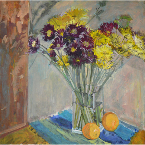 Lila Bacon Floral Painting on Canvas Mums and Oranges c-lb210