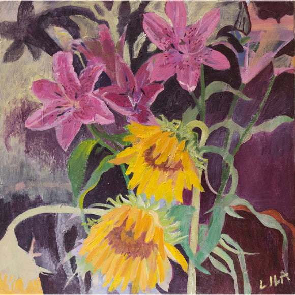 Lila Bacon Floral Painting on Canvas Lillies and Sunnies