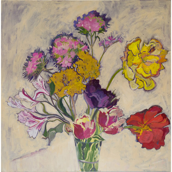 Lila Bacon Floral Painting on Canvas Flower Mix Number 1 c-lb226
