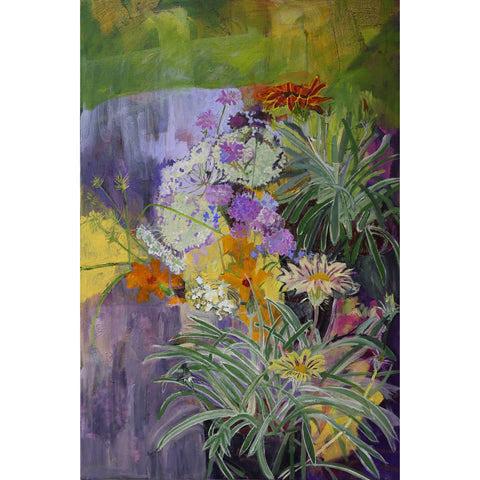 Lila Bacon Floral Painting on Canvas Tanzania Marigolds and Queen Annes Lace