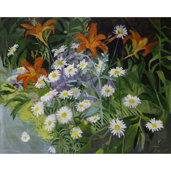 Lila Bacon Floral Painting on Canvas Lilies and Daisies in the Summer Garden Painting