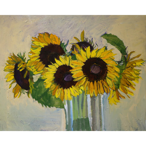 Lila Bacon Floral Painting on Canvas Sunflowers 2016