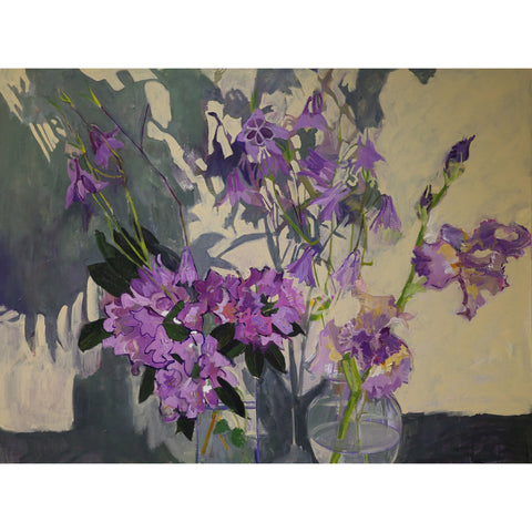 Lila Bacon Floral Painting on Canvas Rhododendron, Iris, and Shadows