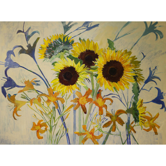 Lila Bacon Floral Painting on Canvas Sunflowers Lilies and Shadows 2016 c-lb236
