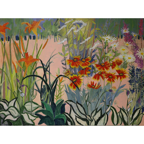 Lila Bacon Floral Painting on Canvas Gaillardia, Lilies, Daisies, etc
