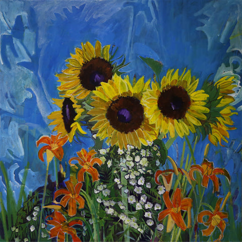 Lila Bacon Floral Painting on Canvas Sunflowers in Turquoise