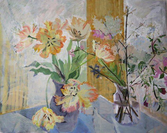 COVID Tulips c-lb326 Painting by Lila Bacon 04-2020 24x30