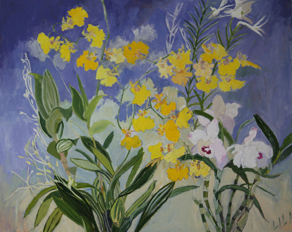 C-LB333 COVID Norms Orchids 05-2020 24x30 Acrylic Flower Paintings by Lila Bacon