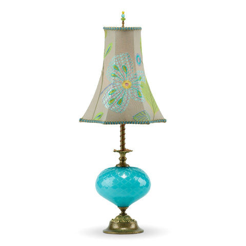 Chelsea Table Lamp, Kinzig Design, Turquoise Blue, Lime, Blown Glass, Silk Shade, Artistic Artisan Designer Table Lamps
