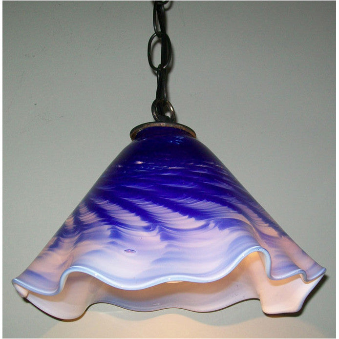 Crystal Postighone Blue & White Pendant Light, Artistic, Artisan, Hand Blown Glass Pendants