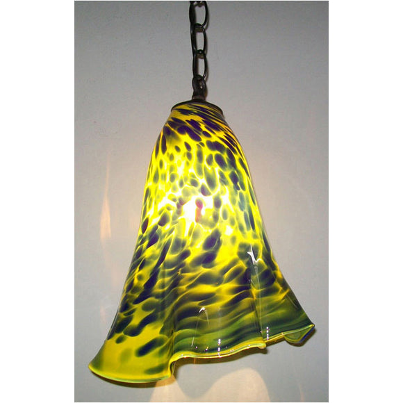 Crystal Postighone Blue Yellow Pendant Light, Artistic, Artisan, Hand Blown Glass Pendants