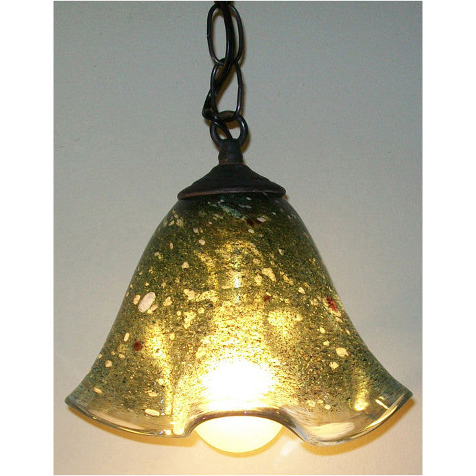 Crystal Postighone Dark Green Pendant Light, Artistic, Artisan, Hand Blown Glass Pendants