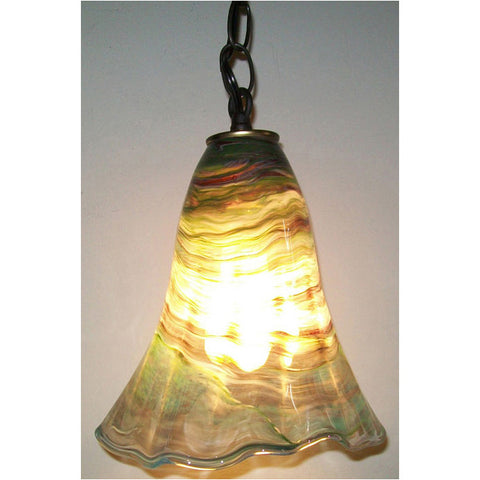 Crystal Postighone Green Glass Pendant Light, Artistic, Artisan, Hand Blown Glass Pendants