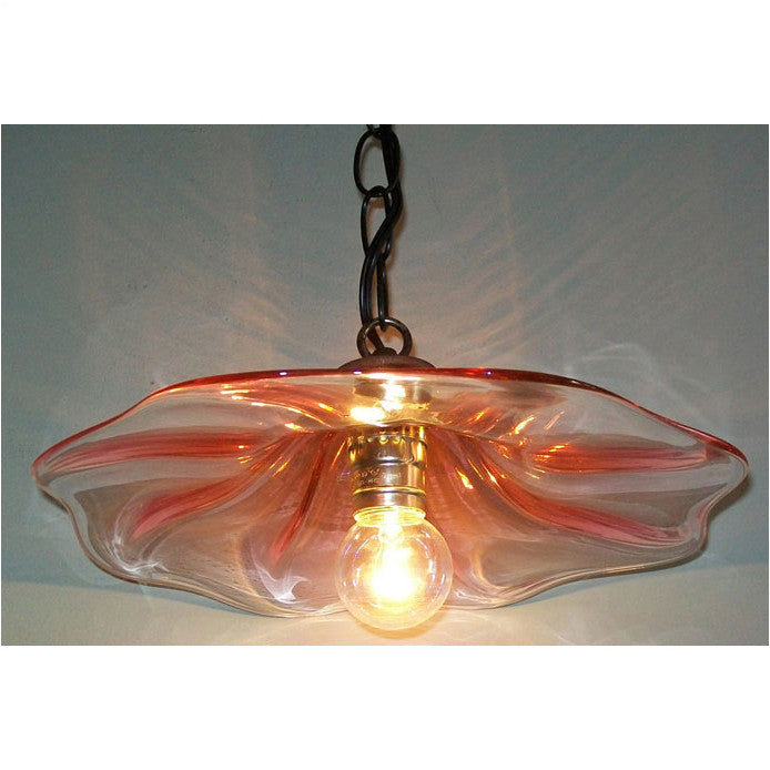 Crystal Postighone Red & Clear Pendant Light, Artistic, Artisan, Hand Blown Glass Pendants