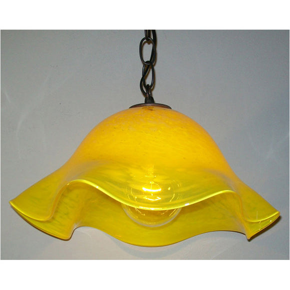 Crystal Postighone Yellow Glass Pendant Light, Artistic, Artisan, Hand Blown Glass Pendants