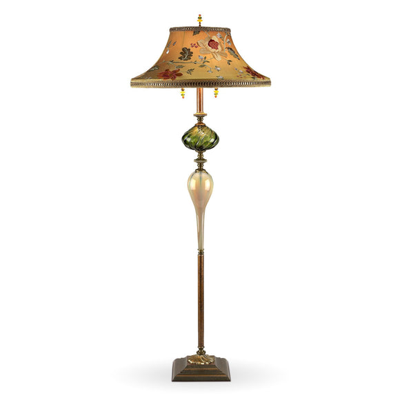 Kinzig Design Freddy Floor Lamp Gold, Green, Red, Rose, Salmon, Blown Glass, Silk Shade, Artistic Artisan Designer Floor Lamps