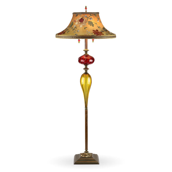 Kinzig Design Freddy Floor Lamp Gold, Red, Rose, Salmon, Green, Blown Glass, Silk Shade, Artistic Artisan Designer Table Lamps