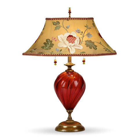 Frida Table Lamp, Kinzig Design, Red, Gold, Green, Salmon, Blown Glass, Silk Shade, Artistic Artisan Designer Table Lamps