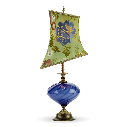 Irene Table Lamp, Kinzig Design, Periwinkle, Green, Aubergine, Blown Glass, Silk Shade, Artistic Artisan Designer Table Lamps