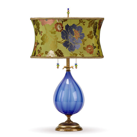Iris Table Lamp, Kinzig Design, Periwinkle, Green, Aubergine, Blown Glass, Silk Shade, Artistic Artisan Designer Table Lamps