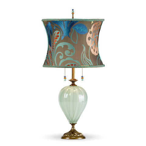 Kristen Table Lamp, Kinzig Design, Gray, Blue, Green, Peach, Blown Glass, Silk Shade, Artistic Artisan Designer Table Lamps