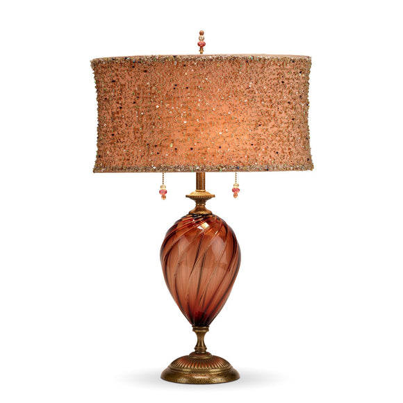 Linda Table Lamp, Kinzig Design, Burgundy, Peach, Beaded Overlay, Blown Glass, Silk Shade, Artistic Artisan Designer Table Lamps