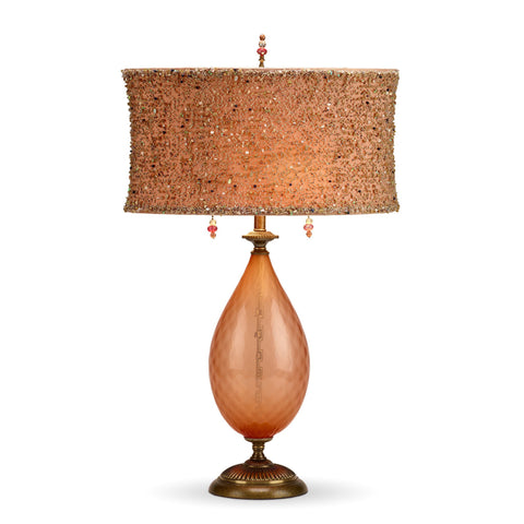 Margie Table Lamp, Kinzig Design, Peach, Shade with Beaded Overlay, Blown Glass, Silk Shade, Artistic Artisan Designer Table Lamps