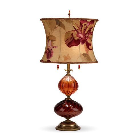 Mariola Table Lamp, Kinzig Design, Burgundy, Salmon, Blown Glass, Silk Shade, Artistic Artisan Designer Table Lamps