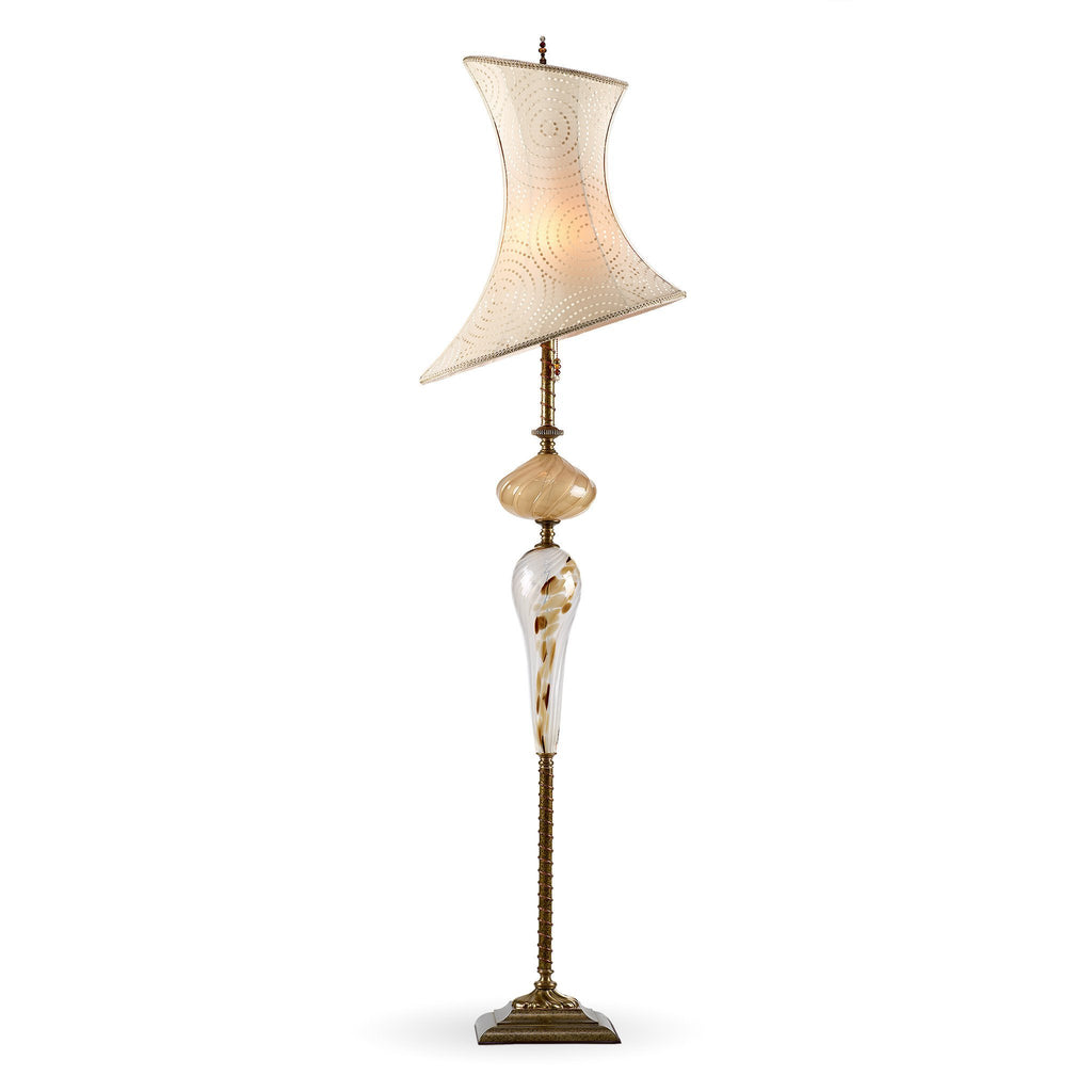 McKenna Floor Lamp, Kinzig Design, Cream, Gold, Brown, Blown Glass, Silk Shade, Artistic Artisan Designer Floor Lamps