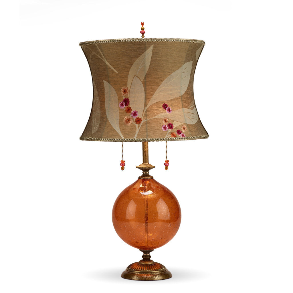 Natalia Orange Table Lamp, Kinzig Design, Orange, Oatmeal, Cream, Rose, Blown Glass, Silk Shade, Artistic Artisan Designer Table Lamps