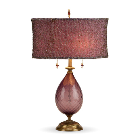 Nicole Table Lamp, Kinzig Design, Purple Glass, Shade with Beaded Overlay, Blown Glass, Silk Shade, Artistic Artisan Designer Table Lamps