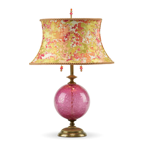 Sonya Rose Table Lamp, Kinzig Design, Rose, Lime, Peach, Blown Glass, Silk Shade, Artistic, Artisan-Crafted Table Lamps