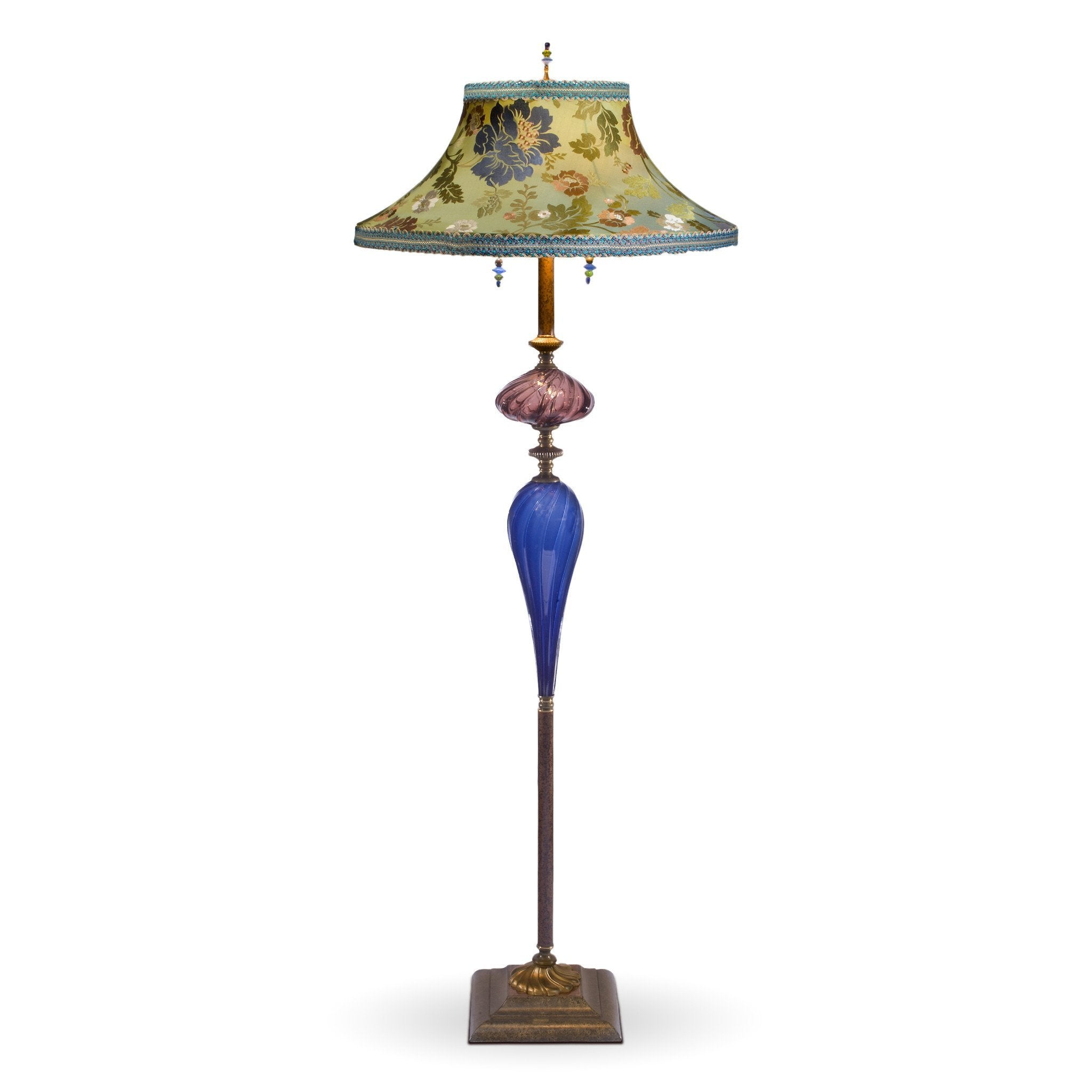 Picture of: Kinzig Design Stanley Floor Lamp Periwinkle Green Aubergine Blown Glass Silk Shade Sweetheart Gallery Contemporary Craft Gallery Fine American Craft Art Design Handmade Home Personal Accessories