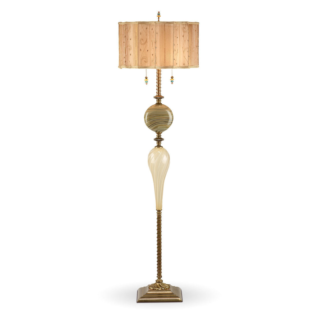 Tyler Floor Lamp, Kinzig Design, Cream, Khaki, Gold, Blown Glass, Silk Shade, Artistic Artisan Designer Floor Lamps