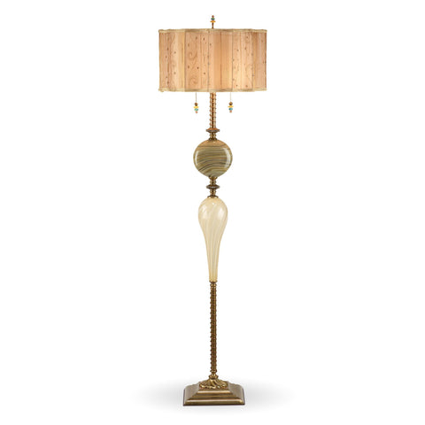 Kinzig Design Tyler Floor Lamp Cream, Khaki, Gold, Blown Glass, Silk Shade, Artistic Artisan Designer Floor Lamps